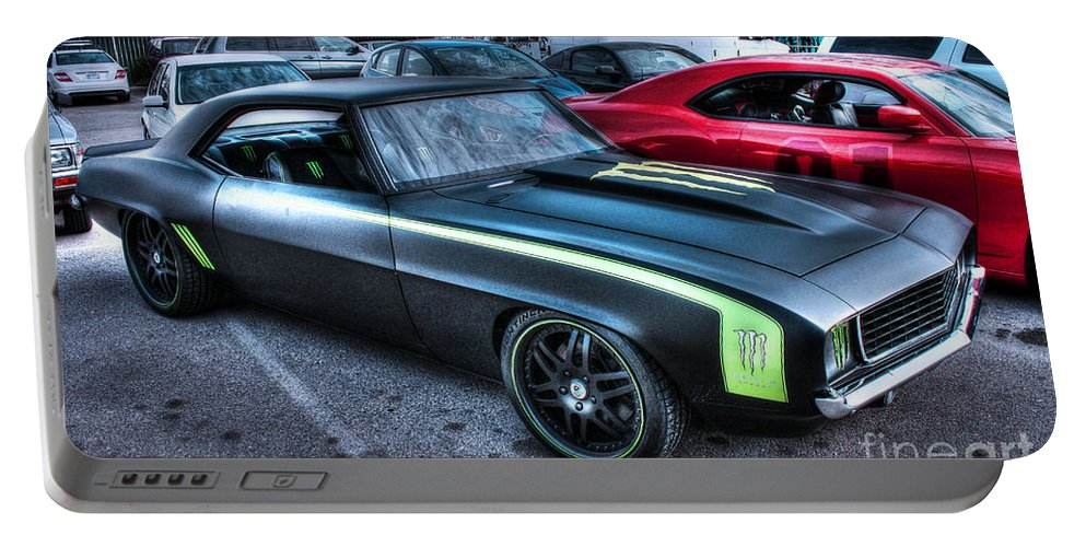 1969 Chevy Camaro Portable Battery Charger featuring the photograph Monster Camaro by Tommy Anderson