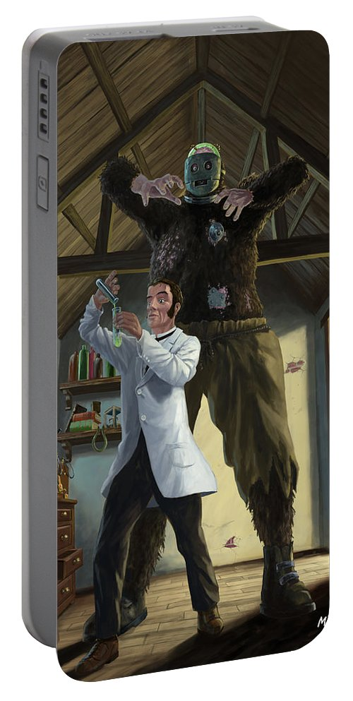 Monster Portable Battery Charger featuring the painting Monster In Victorian Science Laboratory by Martin Davey
