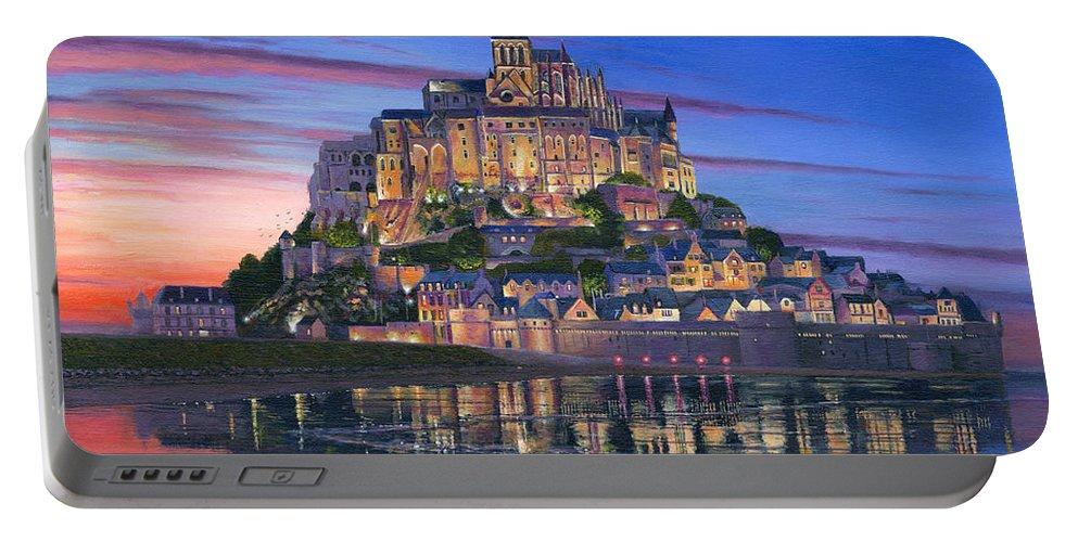 Architecture Art Portable Battery Charger featuring the painting Mont Saint-michel Soir by Richard Harpum