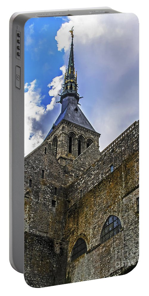 Travel Portable Battery Charger featuring the photograph Mont St Michel Tower by Elvis Vaughn