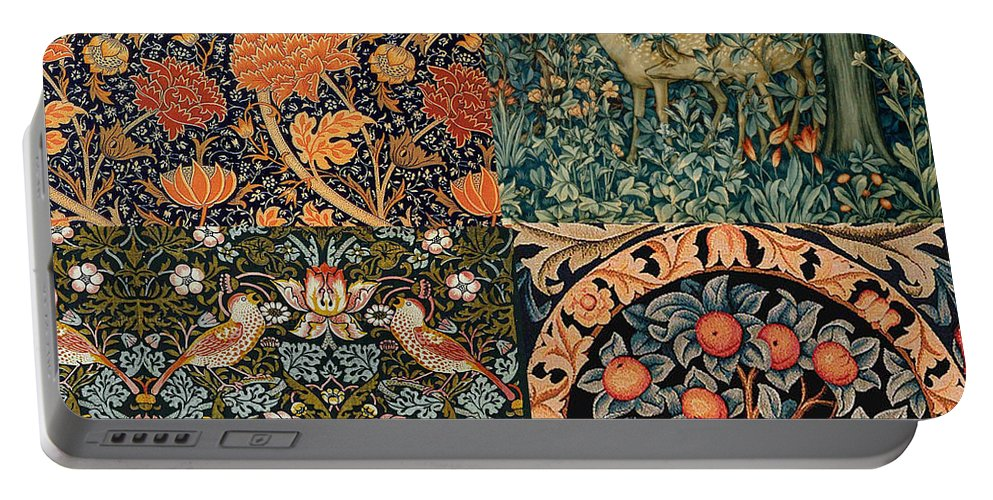 William Portable Battery Charger featuring the digital art Montage Of Morris Designs by Philip Ralley