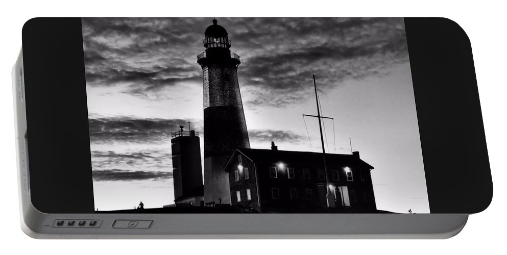Black Portable Battery Charger featuring the photograph Montauk Point by DJ Florek