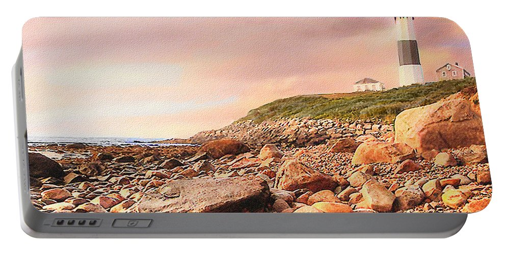 America Portable Battery Charger featuring the painting Montauk Point Lighthouse by Bob and Nadine Johnston