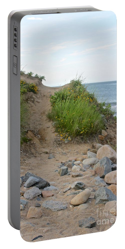 Montauk Portable Battery Charger featuring the photograph Montauk's Rocky Point by Christy Gendalia