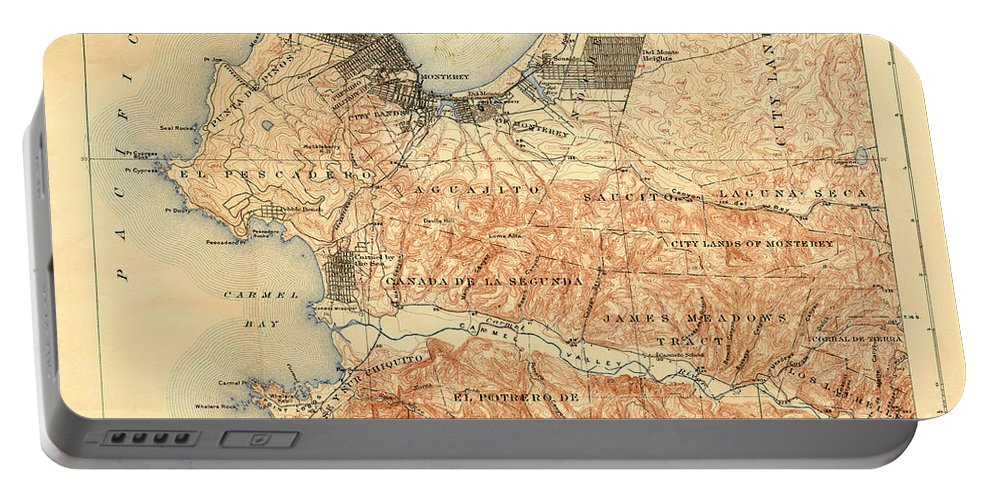 Monterey Portable Battery Charger featuring the photograph Monterey And Carmel Valley Monterey Peninsula California 1912 by California Views Archives Mr Pat Hathaway Archives