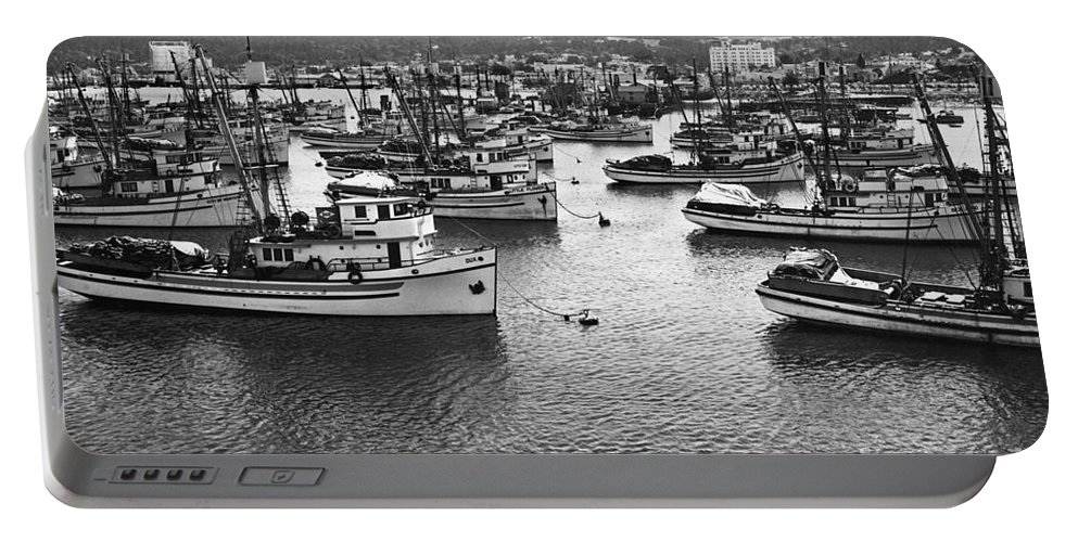 Fishing Portable Battery Charger featuring the photograph Monterey Harbor Full Of Purse-seiner Fishing Boats California 1945 by California Views Archives Mr Pat Hathaway Archives
