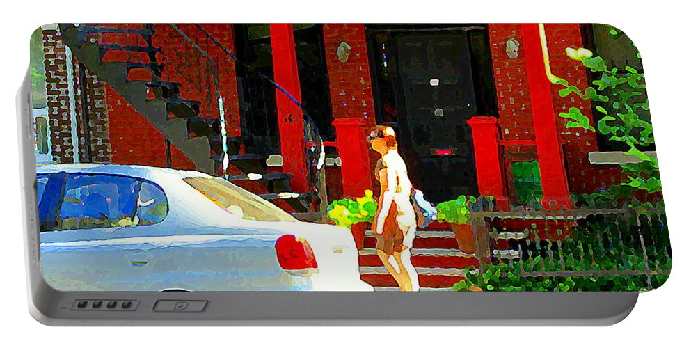 Montreal Portable Battery Charger featuring the painting Montreal Art Summer Stroll On A Sunny Morning Colorful Street Verdun City Scene Carole Spandau by Carole Spandau