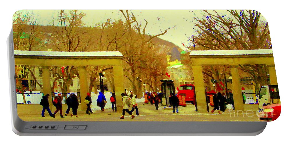Portable Battery Charger featuring the painting Montreal Memories Mcgill Students On Campus Roddick Gates Montreal Collectible Art Prints C Spandau by Carole Spandau