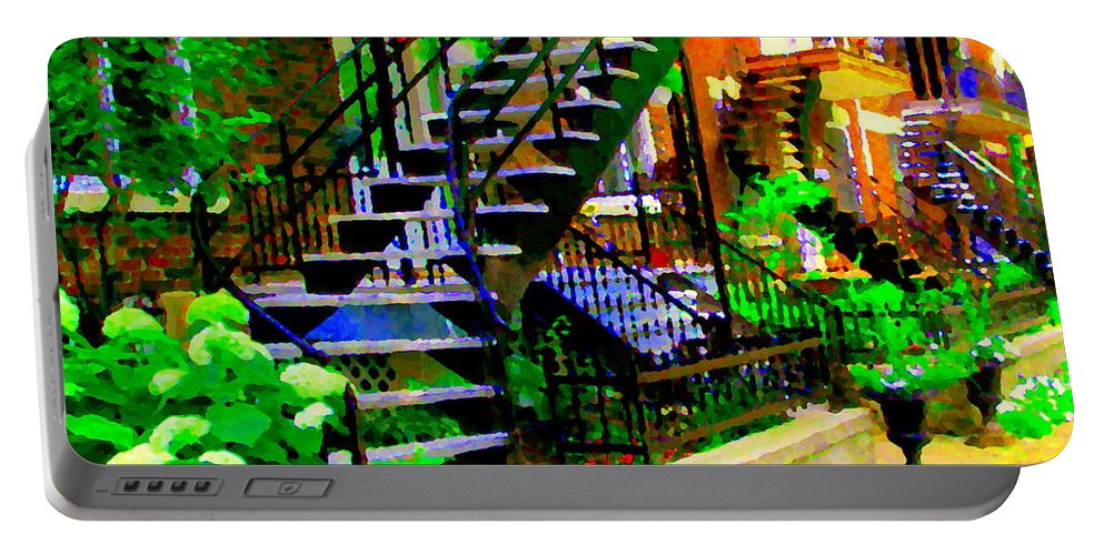 Montreal Portable Battery Charger featuring the painting Montreal Staircases Verdun Stairs Duplex Flower Gardens Summer City Scenes Carole Spandau by Carole Spandau
