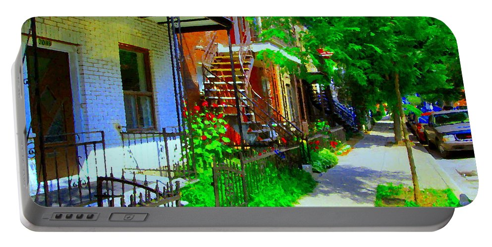 Montreal Portable Battery Charger featuring the painting Montreal Stairs Shady Streets Winding Staircases In Balconville Art Of Verdun Scenes Carole Spandau by Carole Spandau