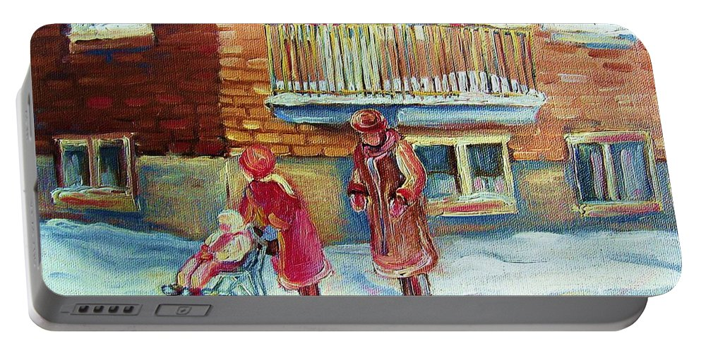 Montreal Portable Battery Charger featuring the painting Montreal Winter Scenes by Carole Spandau