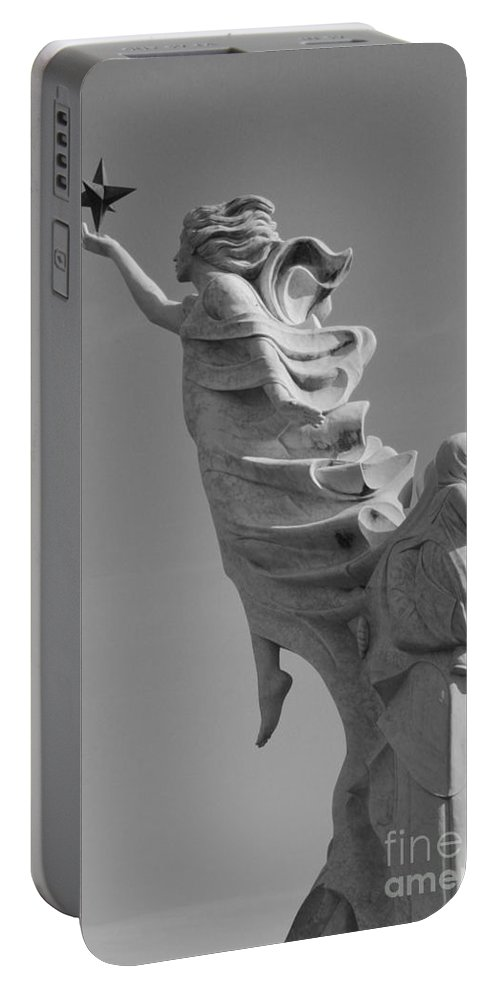Immigrants Portable Battery Charger featuring the photograph Monument To The Immigrants Statue 3 by Alys Caviness-Gober