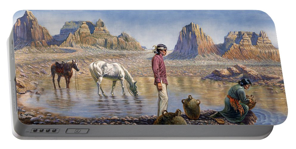 Gregory Perillo Portable Battery Charger featuring the painting Monument Valley by Gregory Perillo
