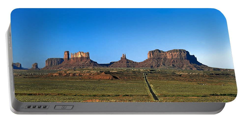 Monument Valley Red Sandstone Formations Portable Battery Charger featuring the photograph Monument Valley Road by Sally Weigand