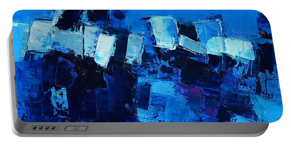 Abstract Portable Battery Charger featuring the painting Mood In Blue by Elise Palmigiani