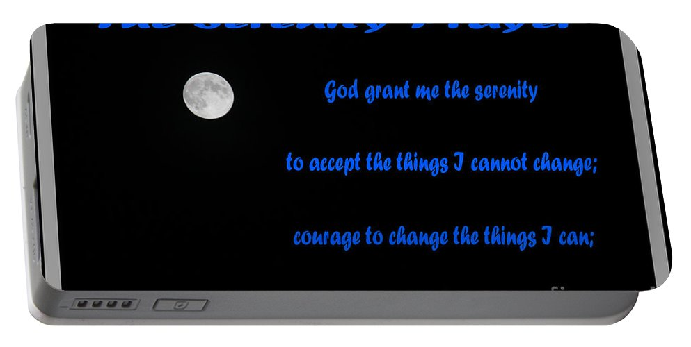 Moon Portable Battery Charger featuring the photograph Moon - Serenity Prayer - Blue by Barbara Griffin