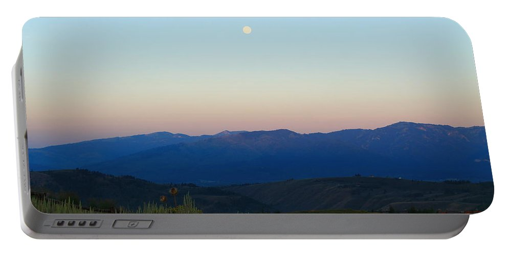 Jackson Hole Portable Battery Charger featuring the photograph Moon And The Tetons by Catie Canetti