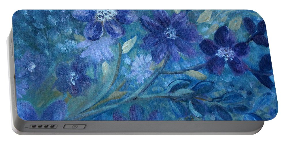 Working With A Palette I Associate With Moon Light. Portable Battery Charger featuring the painting Moon Lit Sonata by Joanne Smoley