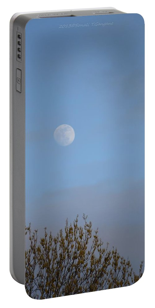 Glimpse Of Moon Portable Battery Charger featuring the photograph Moon Lording Over Sky by Sonali Gangane