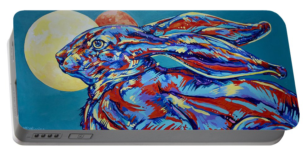 Moon Portable Battery Charger featuring the painting Moon Mars Rabbit by Derrick Higgins