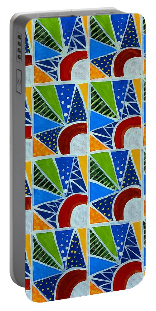 Barbara Griffin Portable Battery Charger featuring the painting Moon - Mountains - Borealis - Quilt Painting by Barbara Griffin