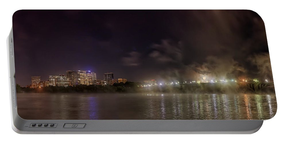 Metro Portable Battery Charger featuring the photograph Moon Over The Bridge by Metro DC Photography