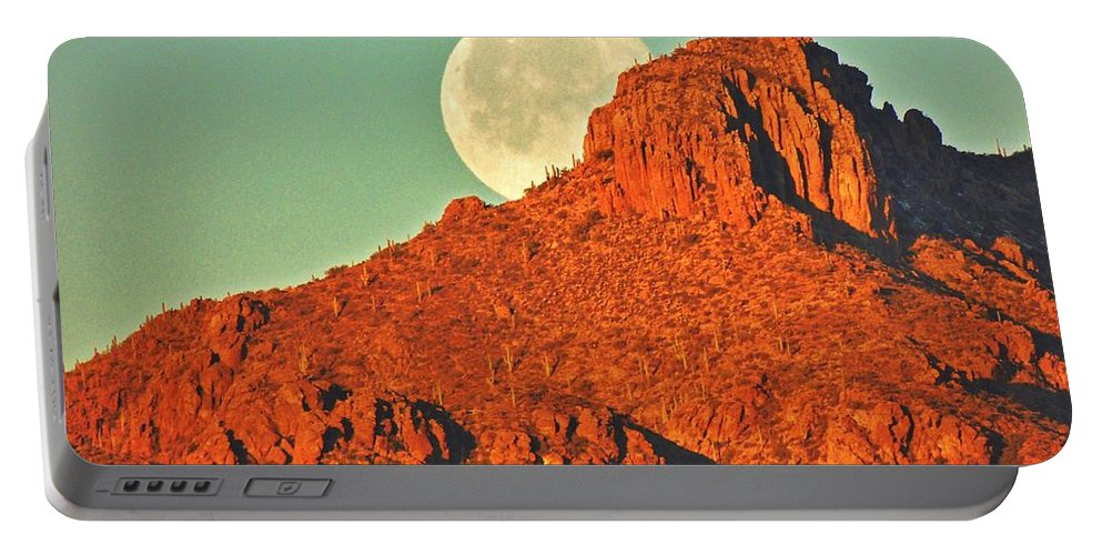Moon Portable Battery Charger featuring the photograph Moon Over Tucson Mountains by John Wanserski