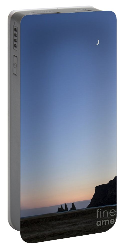 Vik Portable Battery Charger featuring the photograph Moon Over Vik by Evelina Kremsdorf