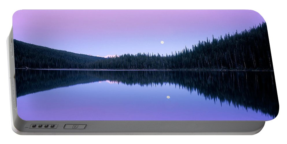 Azure Portable Battery Charger featuring the photograph Moon Rise by Leland D Howard