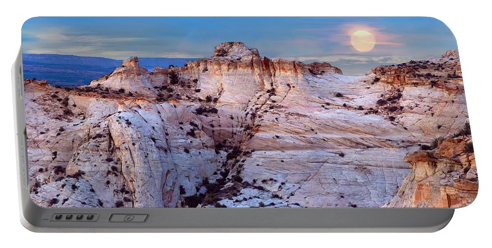 Escalante Staircase Portable Battery Charger featuring the painting Moon Rising Over Escalante Staircase by Bob and Nadine Johnston