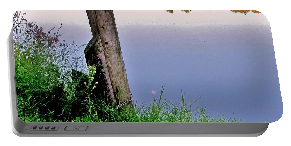 River Portable Battery Charger featuring the photograph Moon River by Marilyn Smith