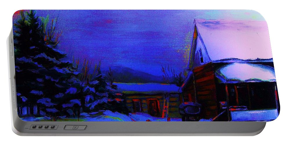 Hockey Portable Battery Charger featuring the painting Moonglow On Powder by Carole Spandau