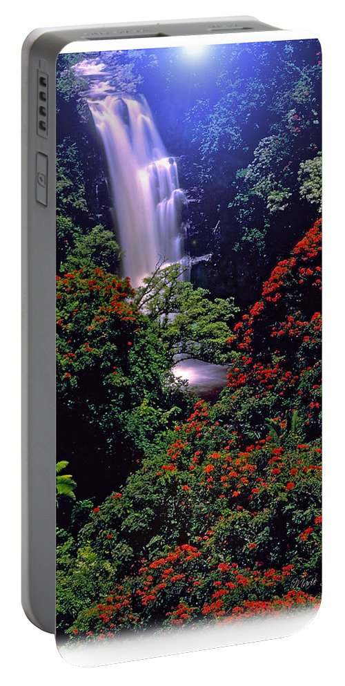 Hawaii Portable Battery Charger featuring the photograph Moonlight Falls by Marie Hicks