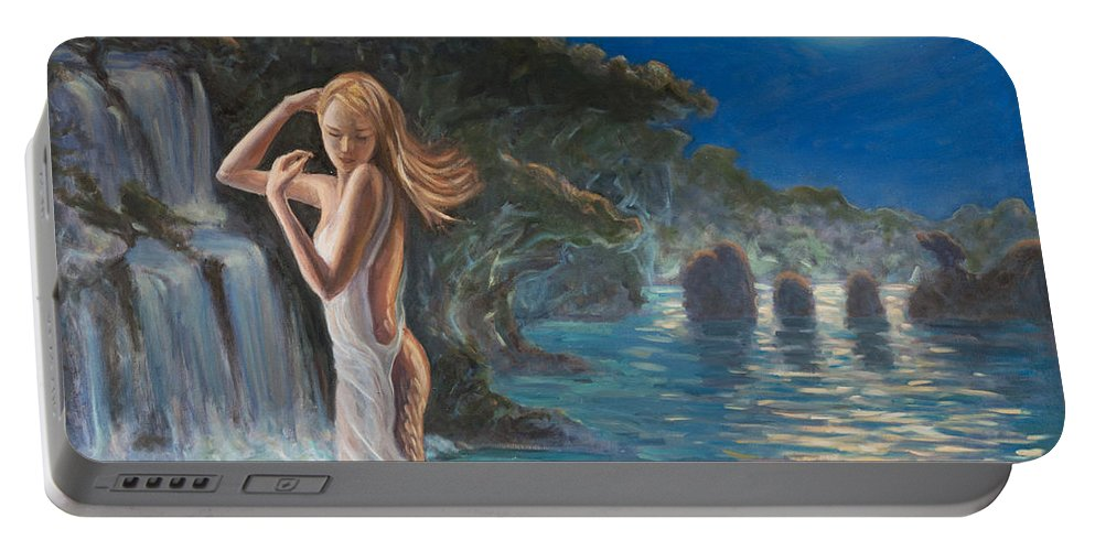 Mermaid Portable Battery Charger featuring the painting Transformed By The Moonlight by Marco Busoni