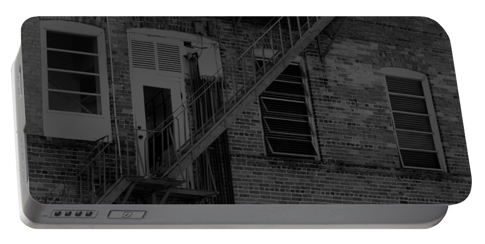 Horizontal Portable Battery Charger featuring the photograph Moonlight Fire Escape Usa Near Infrared by Sally Rockefeller