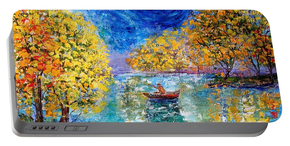 Fishing Portable Battery Charger featuring the painting Moonlight Fishing by Karen Tarlton