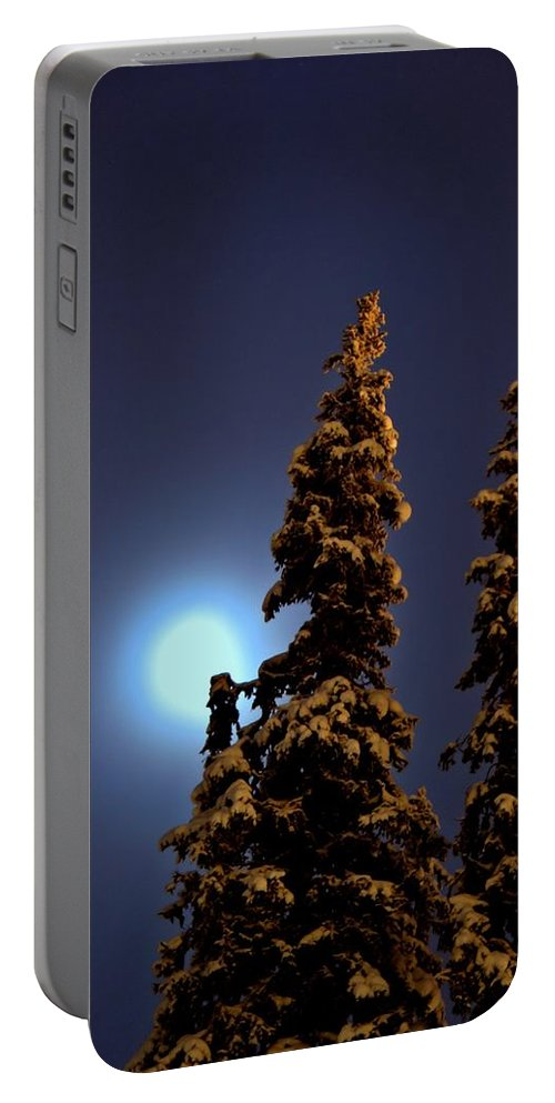 Night Portable Battery Charger featuring the photograph Moonlight In Lapland by Guna Andersone