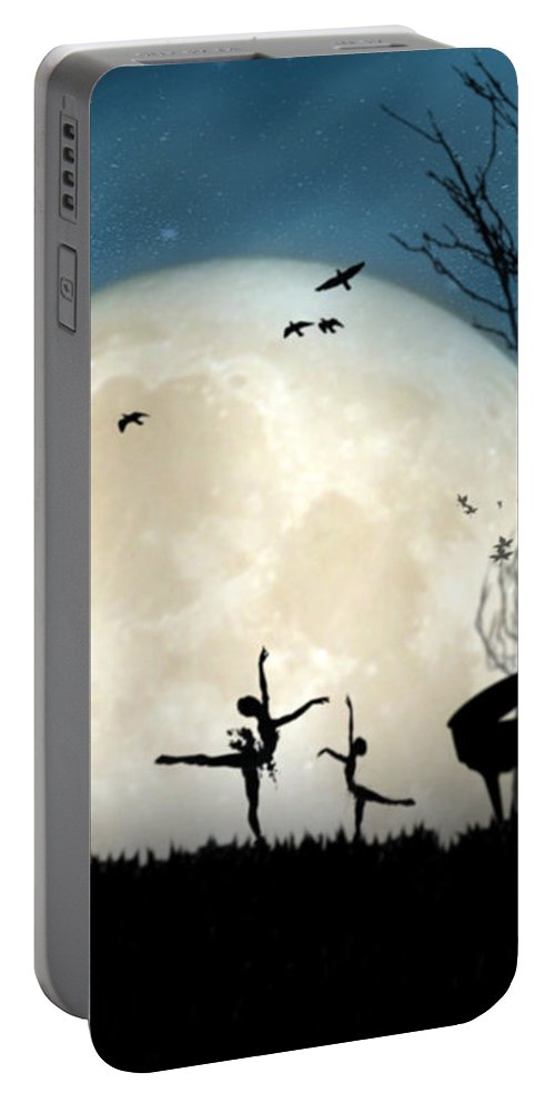 Portable Battery Charger featuring the digital art Moonlight Melody..new by Moses Benson