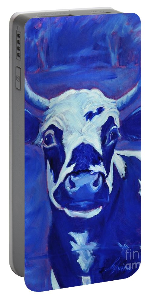 Cows Portable Battery Charger featuring the painting Moonlight by Sylvina Rollins