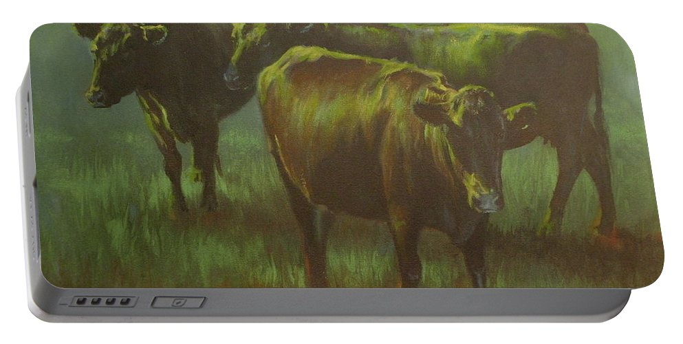 Cows Portable Battery Charger featuring the painting Moonlit by Mia DeLode