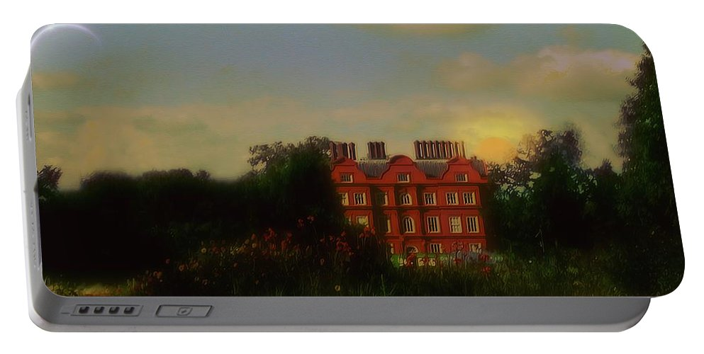 Clouds Portable Battery Charger featuring the painting Moonrise - Sunset by RC DeWinter