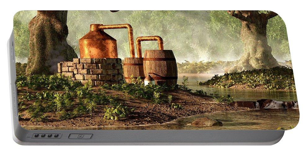 Moonshine Portable Battery Charger featuring the digital art Moonshine Still 1 by Daniel Eskridge