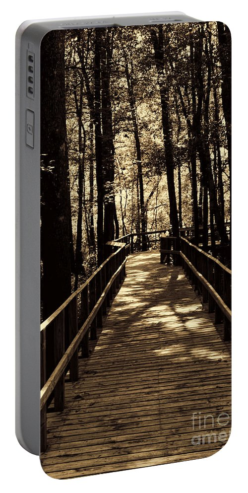 Swamp Bridge Portable Battery Charger featuring the photograph Moores Creek Battlefield Nc Swam Bridge by Tommy Anderson