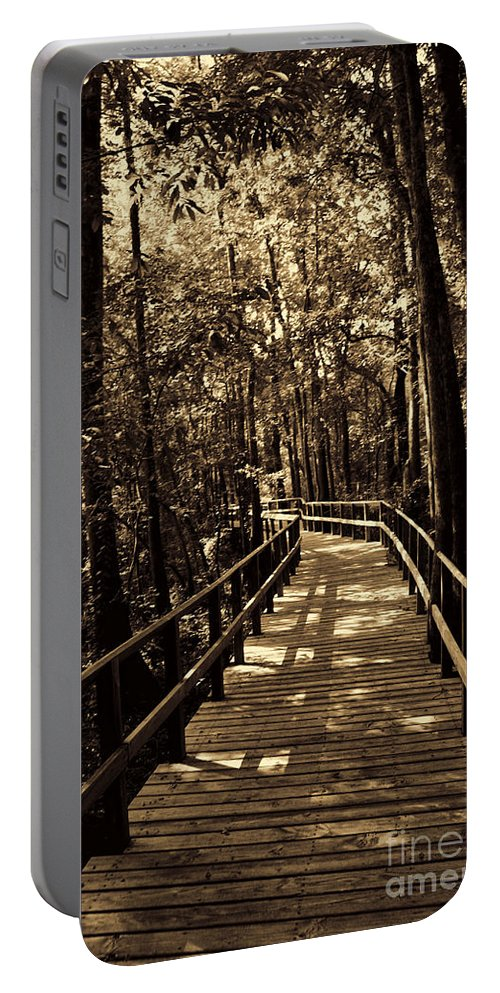 Swamp Bridge Portable Battery Charger featuring the photograph Moores Creek Battlefield Nc Swamp Walk by Tommy Anderson