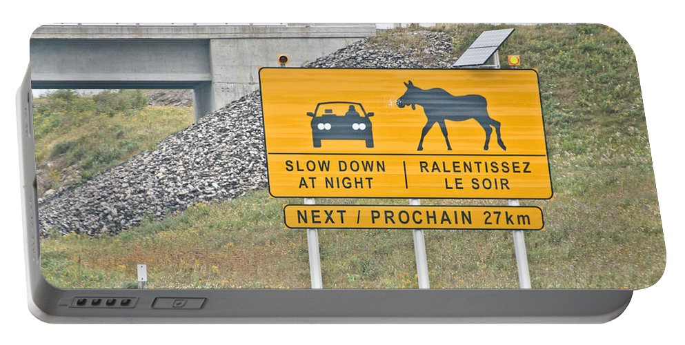 Portable Battery Charger featuring the photograph Moose Crossing by Cheryl Baxter
