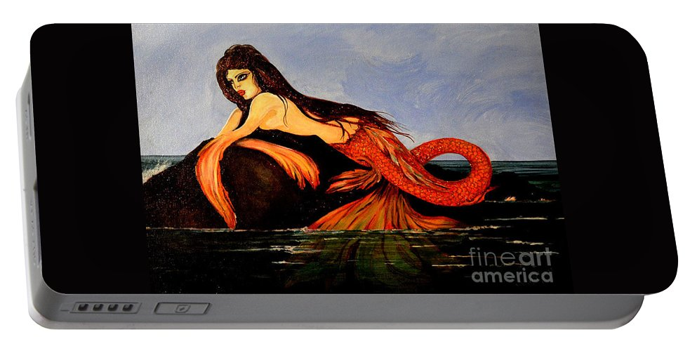 Mermaid Portable Battery Charger featuring the painting Mora by Valarie Pacheco