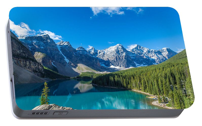 Photography Portable Battery Charger featuring the photograph Moraine Lake At Banff National Park by Panoramic Images