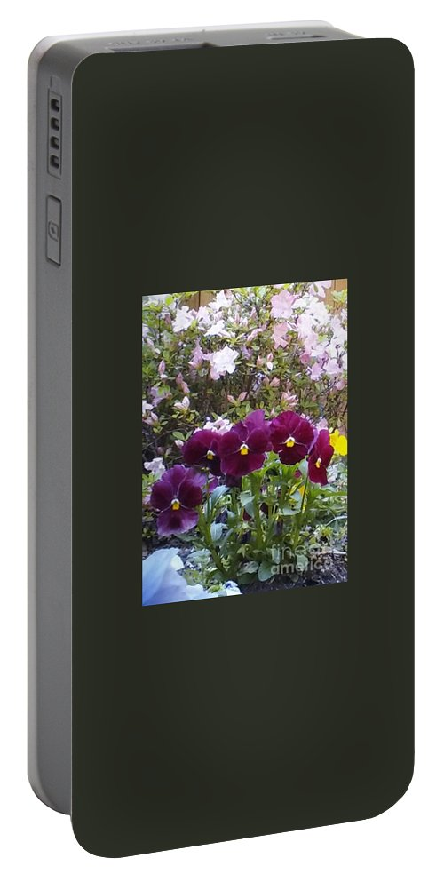 Maroon Portable Battery Charger featuring the photograph More Flowers by Cindy New