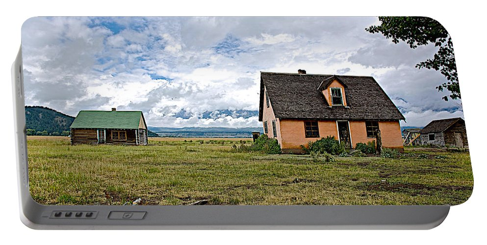 Mormon Row Historic District In Grand Teton National Park Portable Battery Charger featuring the photograph Mormon Row Historic District In Grand Tetons National Park-wyoming by Ruth Hager