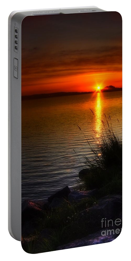 Art Portable Battery Charger featuring the photograph Morning By The Shore by Veikko Suikkanen